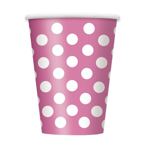 6 HOT PINK DOTS 12OZ CUPS