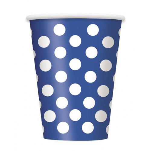 6 ROYAL BLUE DOTS 12OZ CUPS