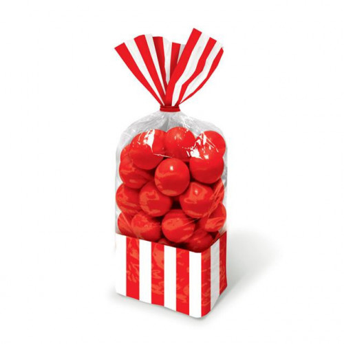 PARTY BAG SMALL STRIPE - APPLE RED