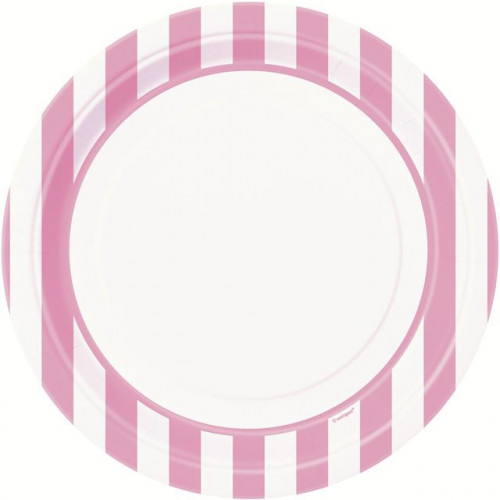 "8 LOVLEY PINK STRIPE 9"" PLATES"