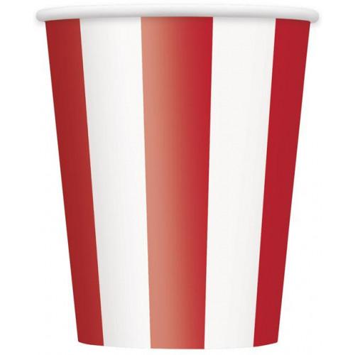 6 RED STRIPE 12OZ CUPS
