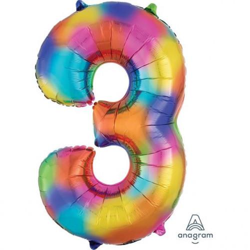 "34"" FOIL SUPER SHAPE 3 RAINBOW SPLASH BALLOON"