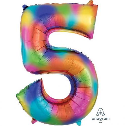 "34"" FOIL SUPER SHAPE 5 RAINBOW SPLASH BALLOON"