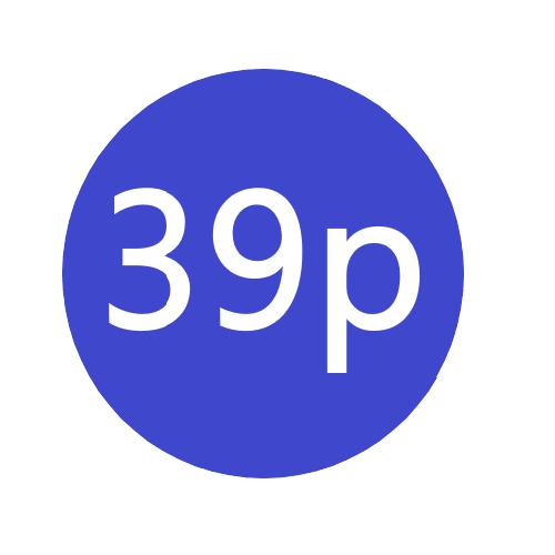39p  x 1000 stickers per roll x5