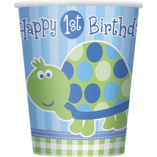 8 FIRST BIRTHDAY TURTLE 9OZ CUP