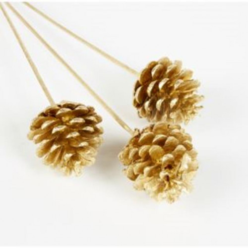 Rose Gold Pine Cones On A Stem