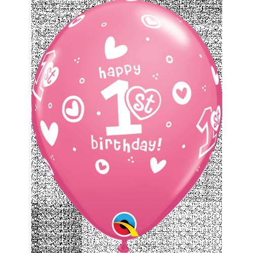 "11"" ROUND ROSE PK25 1ST BIRTHDAY CIRCLE HEARTS-GIRL"