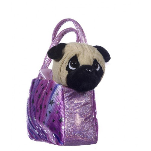 """Plush 8"""" Standing Pug In A Bag"""