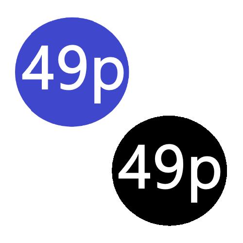 49p  x 1000 stickers per roll x5