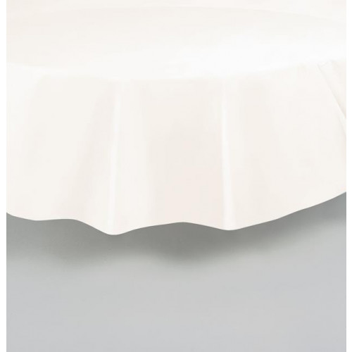 """IVORY ROUND PLASTIC TABLECOVER 84"""""""