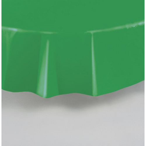 EMERALD GREEN ROUND PLASTIC TABLECOVER 84""
