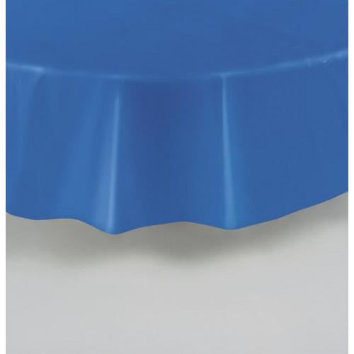 "ROYAL BLUE ROUND PLASTIC TABLCOVER 84"""