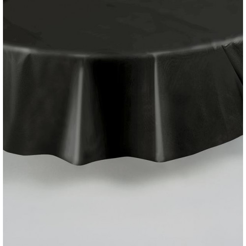 BLACK ROUND PLASTIC TABLECOVER 84""