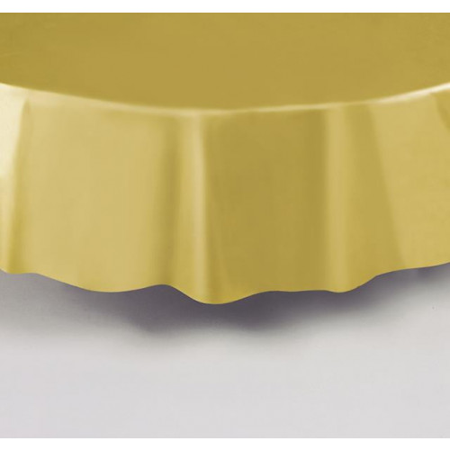 GOLD ROUND PLASTIC TABLECOVER 84""