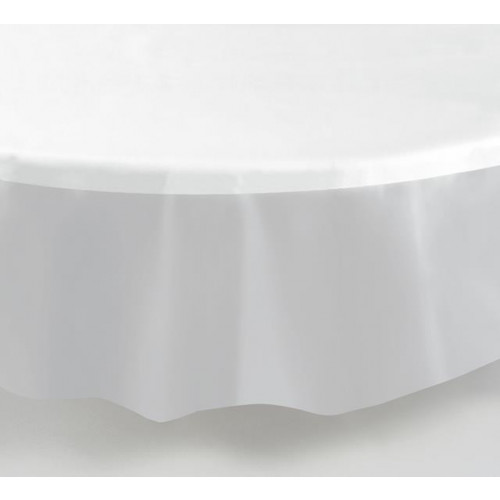 CLEAR ROUND PLASTIC TABLECOVER 84""