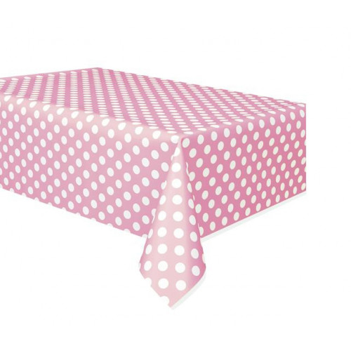 LOVELY PINK DOT PLASTIC TABLECOVER 54X108