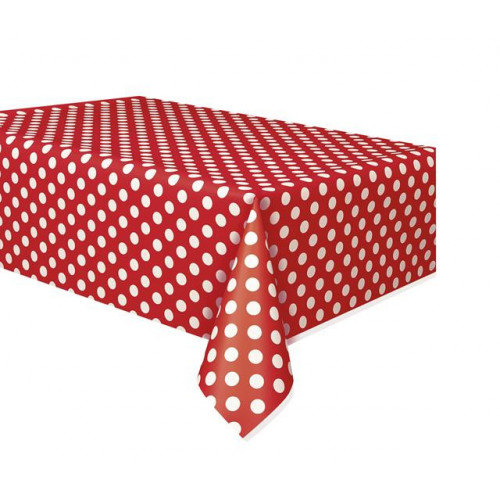 """RUBY RED DOTS PLASTIC TABLECOVER 54""""X108"""""""
