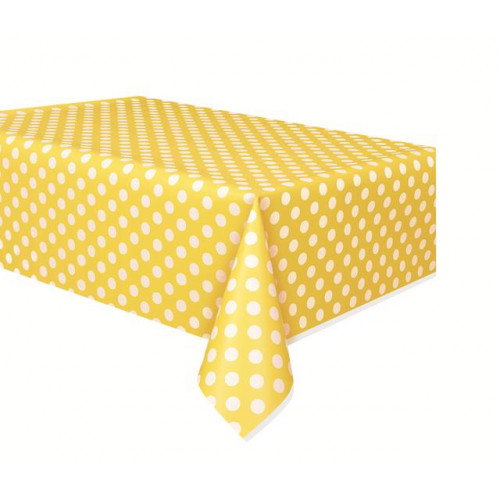 "SUN YELLOW DOTS PLASTIC TABLECOVER 54""X108"