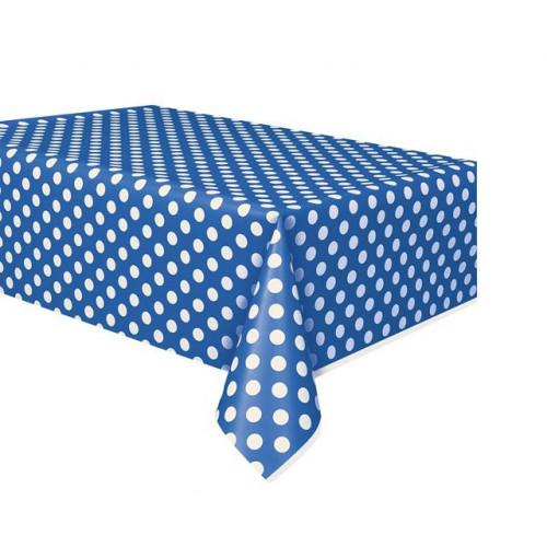 "ROYAL BLUE DOTS PLASTIC TABLECOVER 54""X108"
