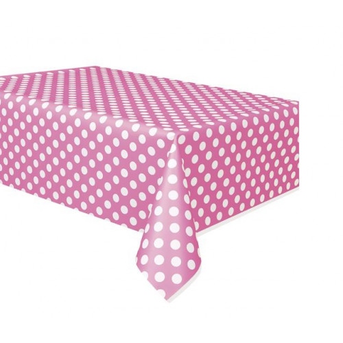 "HOT PINK DOTS PLASTIC TABLECOVER 54""X108"
