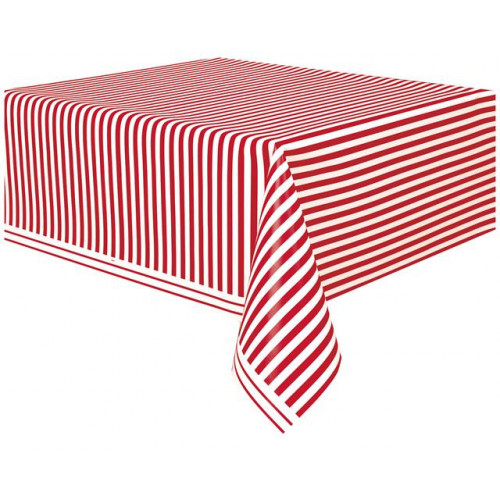 """RED STRIPE PLASTIC TABLECOVER 54""""X108"""""""