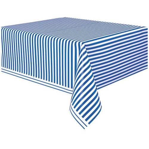 "ROYAL BLUE STRIPE PLASTIC TABLECOVER 54""X108"""