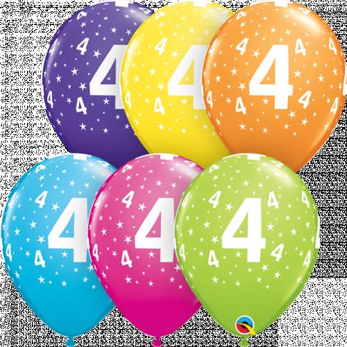 "11"" ROUND TROPICAL AST PK25 STARS #4-A-RND"