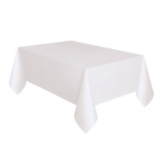 "WHITE BASIC TABLECOVER 54X108"" 12 PIECES"