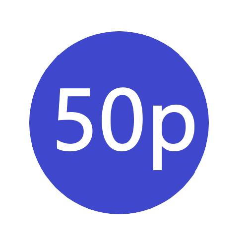 50p  x 1000 stickers per roll x5