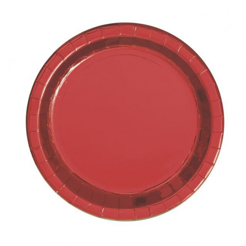 """8 RED 9"""" PLATES FOIL"""