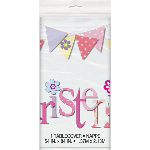 PINK BUNTING CHRISTENING PLASTIC TABLECOVER 54X84