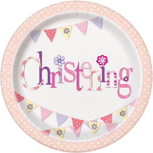 """8 PINK BUNTING CHRISTENING 9"""" PAPER PLATES"""