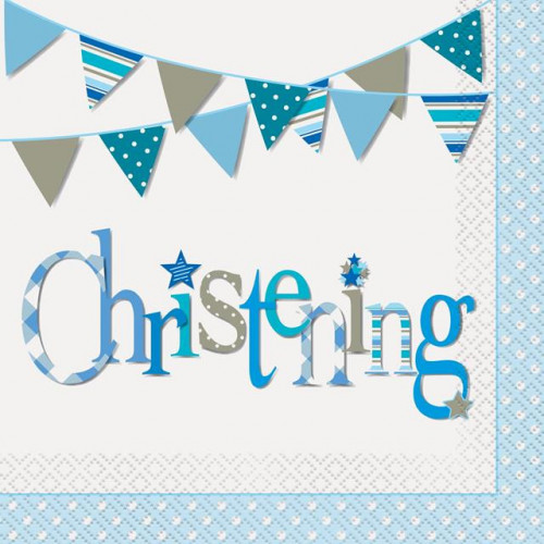 16 BLUE BUNTING CHRISTENING LUNCH NAPKINS
