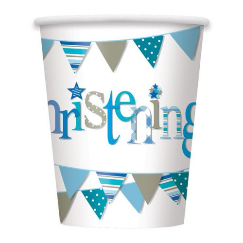 8 BLUE BUNTING CHRISTENING 9OZ PAPER CUP