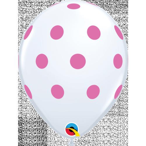 """11"""" White Pk25 Big Polka Dots (Pnk)"""
