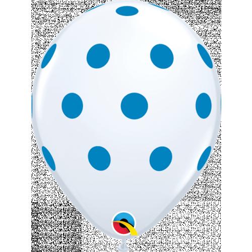 """11"""" White Pk25 Big Polka Dots (Blu)"""