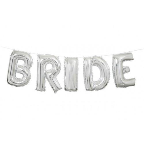 """14"""" SILVER BRIDE LETTER BALLOON BANNER KIT"""