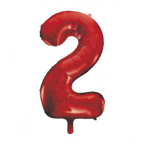 """34"""" PACKAGED RED FOIL BALLOON NUMBER 2"""