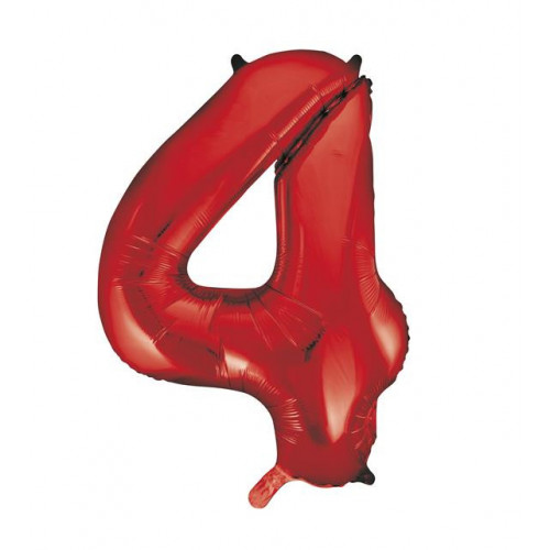 """34"""" PACKAGED RED FOIL BALLOON NUMBER 4"""