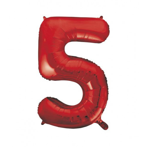"""34"""" PACKAGED RED FOIL BALLOON NUMBER 5"""
