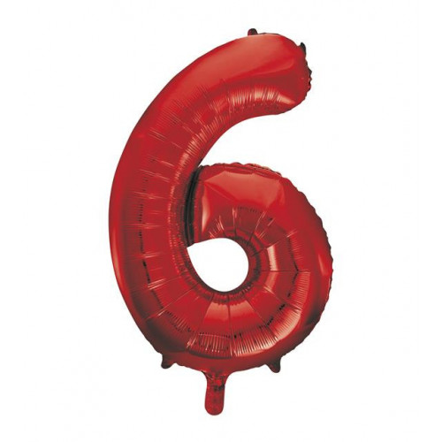 """34"""" PACKAGED RED FOIL BALLOON NUMBER 6"""