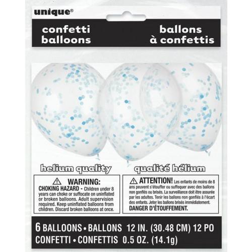 "PK6 12"" Latex With Powder Blue Confetti"