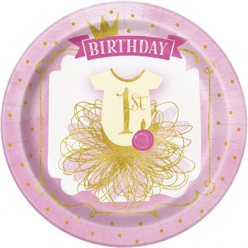 "8 PINK & GOLD 1ST BIRTHDAY 9"" PAPER PLATES"