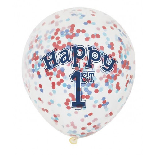 """6 CLEAR 12"""" NAUTICAL 1ST BIRTHDAY BALLOON WITH CONFETTI"""