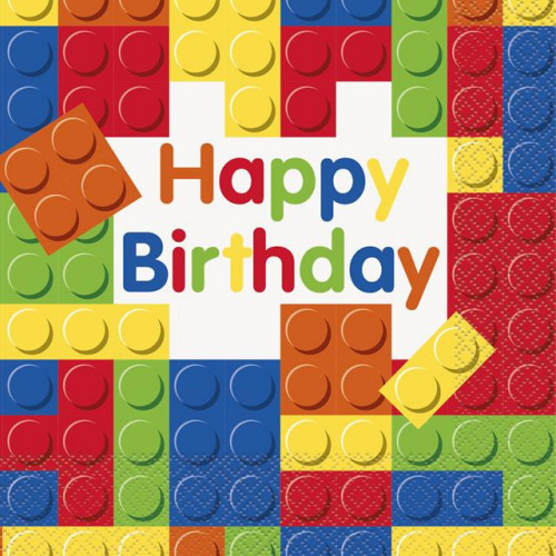 16 BUILDING BLOCKS BIRTHDAY LUNCH NAPKIN