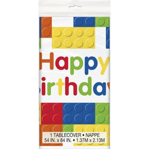 BUILDING BLOCKS BIRTHDAY PLASTIC TABLECOVER 54X84