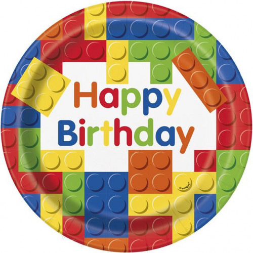 "8 BUILDING BLOCKS BIRTHDAY 9"" PAPER PLATES"