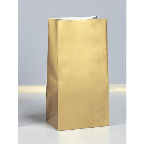 10 PAPER PARTY BAGS-GOLD METALLC