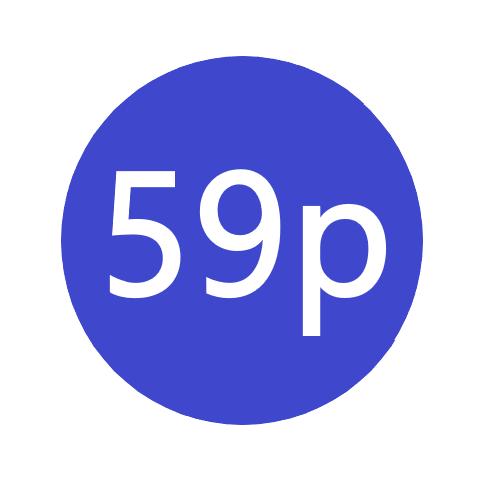 59p x 1000 stickers per roll x5