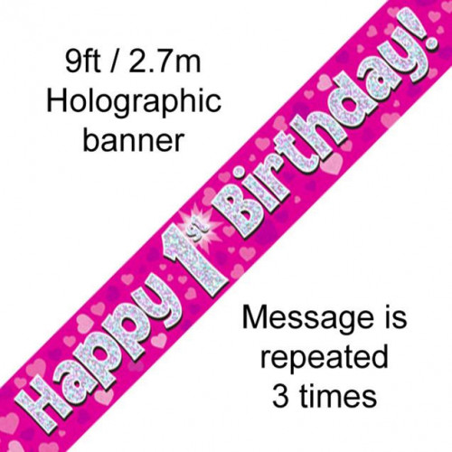 9ft Banner 1st Birthday Pink Holographic